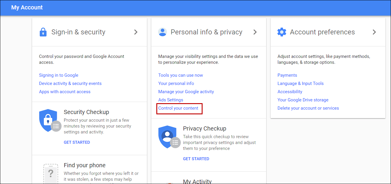 Personal info & privacy