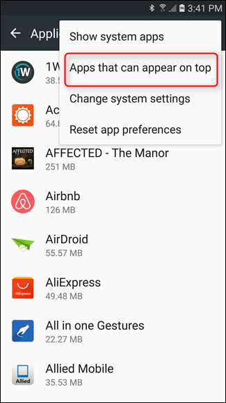 Apps that can appear on top