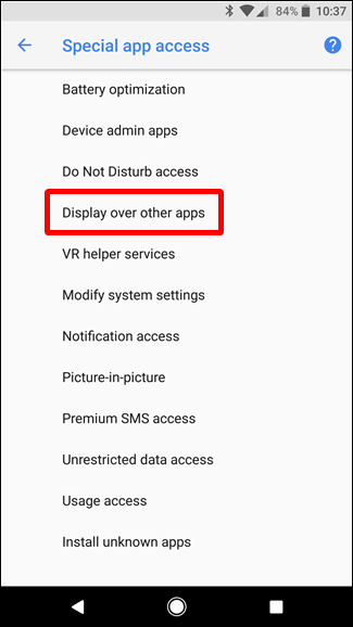 Display Over Other Apps