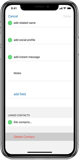 delete a contact from your iOS device
