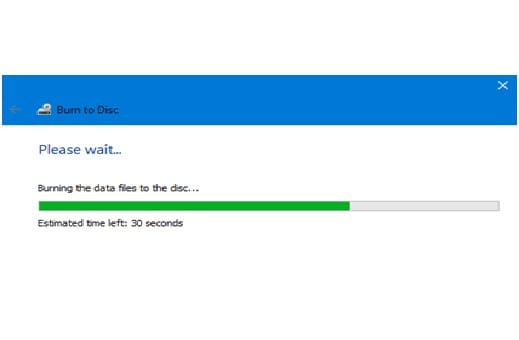 The system will eject the disc after writing the files on it.